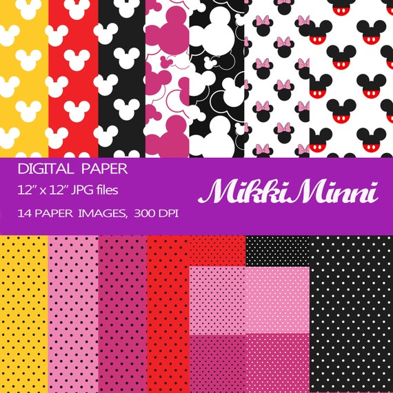 Digitales Papier Mickey Mouse Minni Maus ClipArt Scrapbook | Etsy