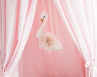 Flying swan mobile, Swan mobile, Tulle swan, Baby girl mobile, Swan decor, Baby mobile, Nursery mobile, Hanging swan, Swan Nursery mobile