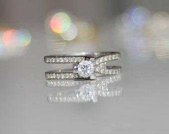 Large Diamond White Gold Ring - Dual