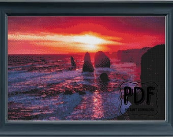 Sea At Sunset, Beach, Scene, Nature, Cross Stitch Pattern, Instant Download PDF