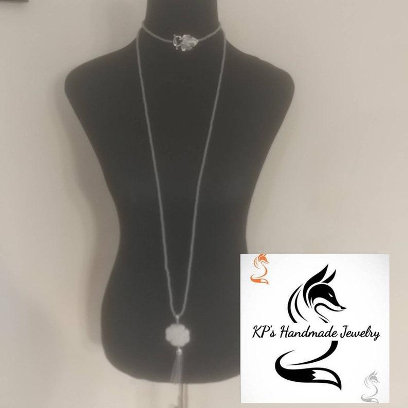 Grey long necklace set