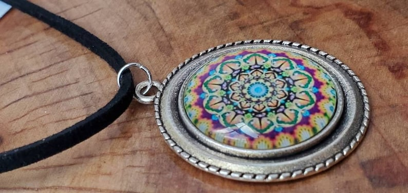 Beautiful black suede necklace with silver colorful mandala pendant
