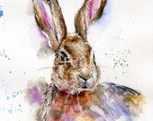 Hare, watercolour, print, picture, country, wildlife, gift