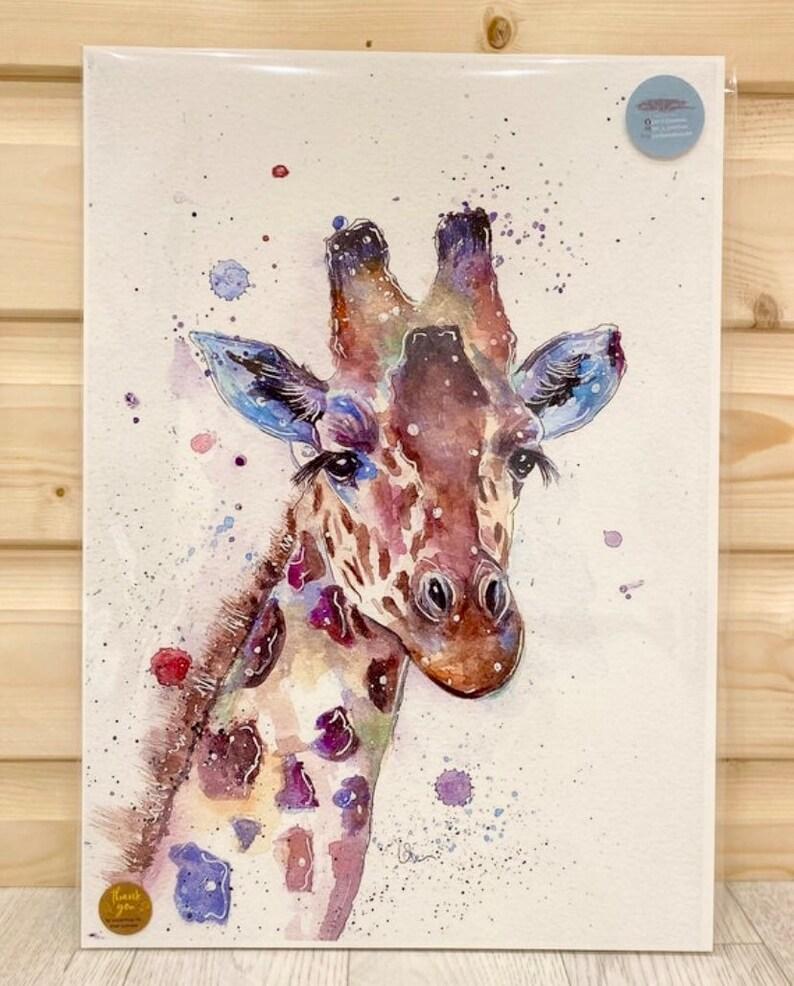 6. Giraffe Watercolor Print Picture