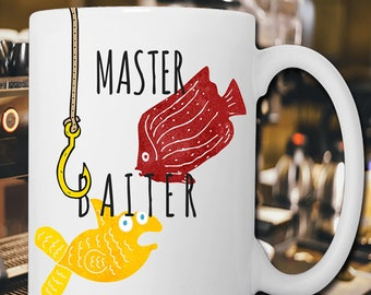 Master Baiter Fish Coffee Mug Tea Gift Her Him Novelty Naughty Laughter Funny Joke 11 Oz White