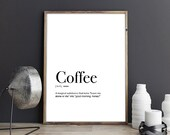 Coffee Definition Wall Art Prints Affiche Scandinave Airbnb Host Minimalist Poster Printable Wall Art Digital Download