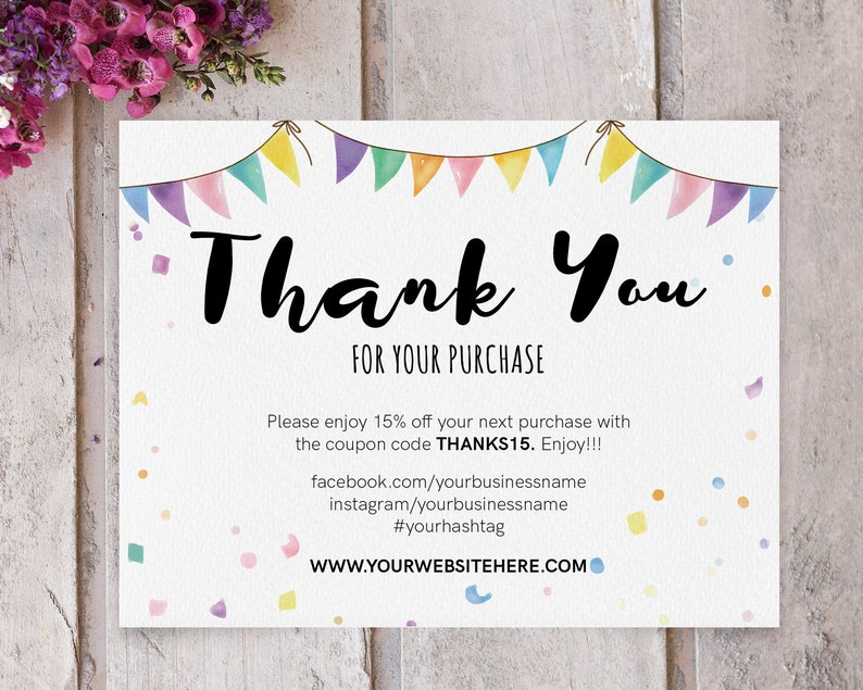 INSTANT Editable and Printable Thank You Cards for Small ...