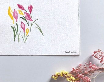 Card in watercolor: Spring flowers