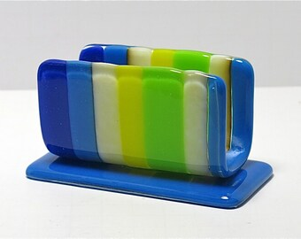 Striped Fused Glass Business Card Holder