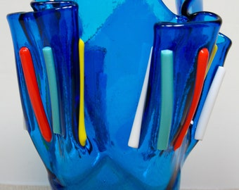 Fused Glass Handkerchief Striped Vase