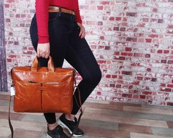 laptop bag, Cartable en cuir, Messenger bag, sac ordinateur portable, Brown leather briefcase,gift for her,Genuine leather briefcase for men