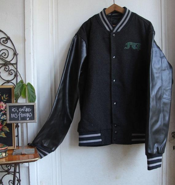 Vintage 90s Porter Size L Men/'s Jacket Teddy Gray  Black  Navy Freeman T Sport chic
