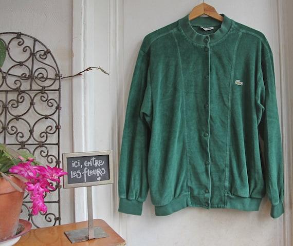 Rare Vintage 80s Lacoste Men's Green Velvet Jacket