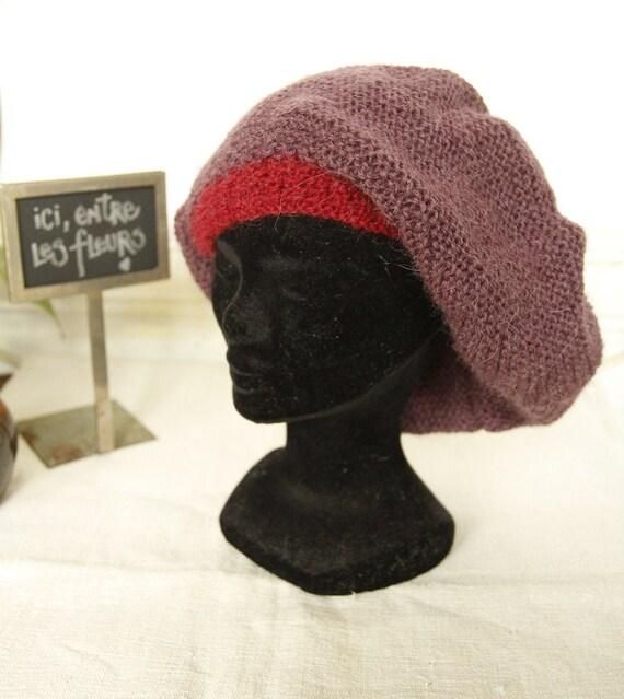 Unisex wool beanie - Vintage France - Purple and b