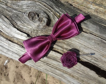 Burgundy Bow tie Wine Rose Lapel pin Groomsmen Bow Tie Burgundy Wedding Boutonniere with pearls Mens Lapel Flower Bow Ties set Gift for Mens