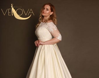 e8c4ed6301 Long Sleeve Wedding Dress Plus Size Wedding Dress