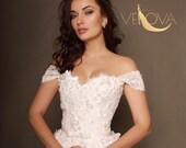 Lace Wedding Dress, Vintage Wedding Dress, Unique Wedding Dress, A line Wedding Dress, Corset Wedding Dress