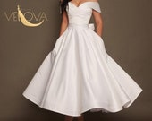 Short Wedding Dress Off Shoulder, Tea Length Wedding Dress Plus Size