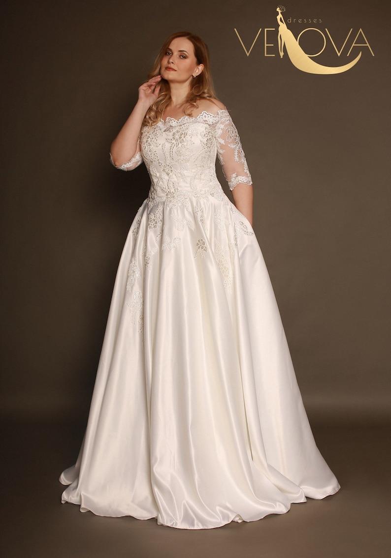 Long Sleeve Lace Wedding Dress Plus Size Wedding Dress Etsy