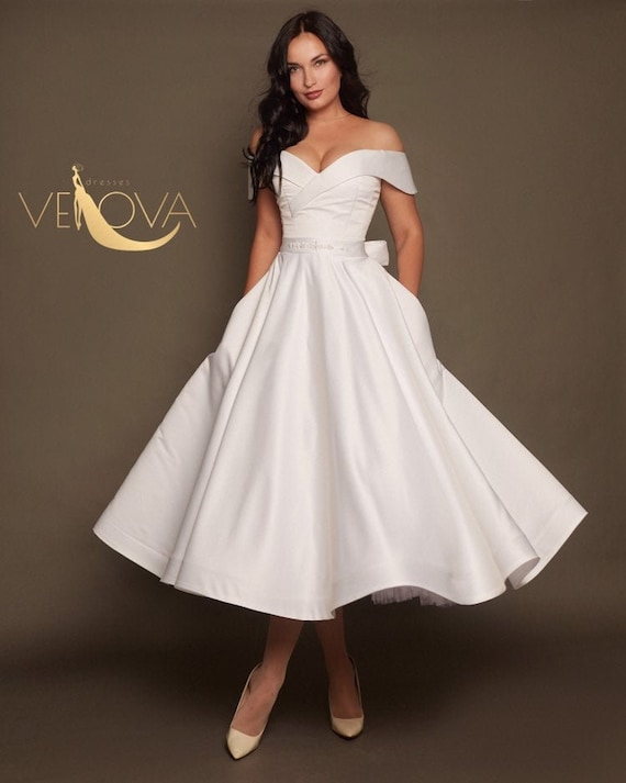 Short Wedding Dress Off Shoulder, Tea Length Wedding Dress Plus Size