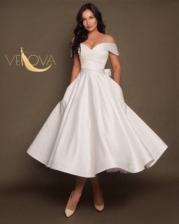 Short Wedding Dress Off Shoulder Tea Length Wedding Dress Etsy