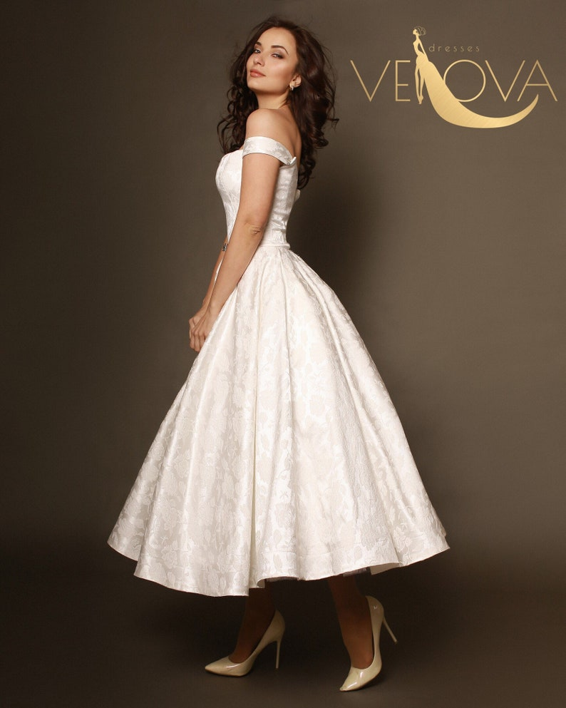 Short Wedding Dress Tea Length Wedding Dress Beach Wedding Etsy