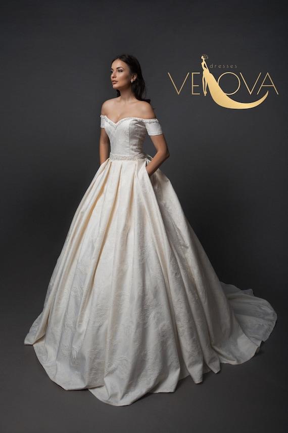 Off Shoulder Wedding Dress Unique Wedding Dress Corset Etsy
