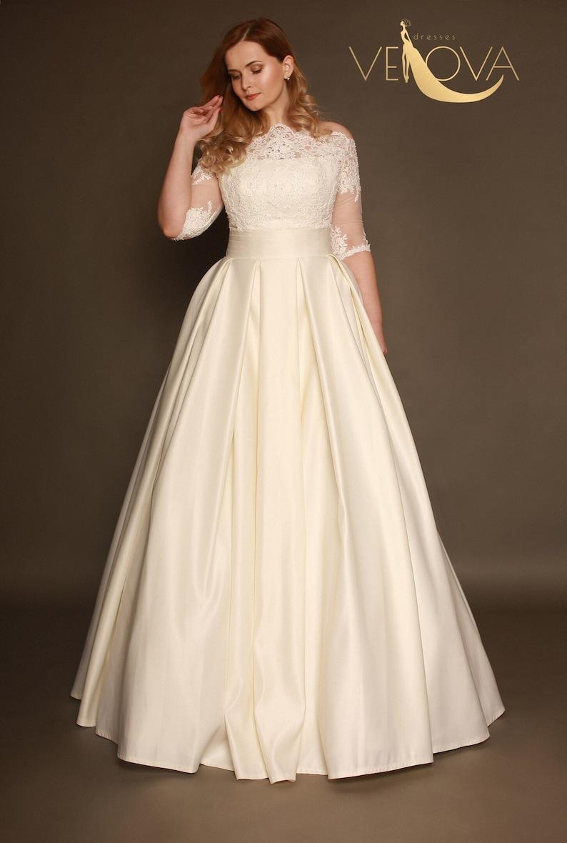 Plus Size Wedding Dress Sleeves, Long Sleeve Lace Wedding Dress