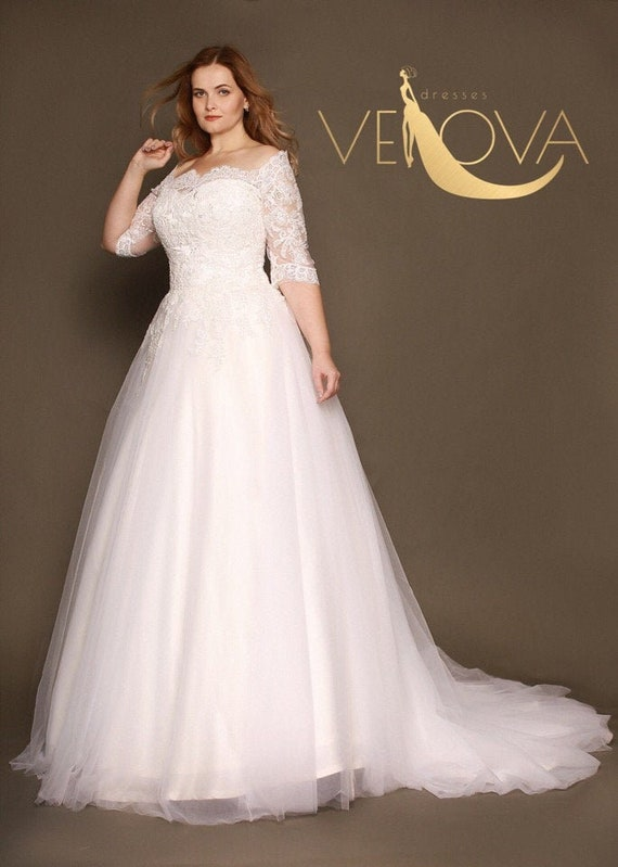 Plus Size Wedding Dress Long Sleeve Lace Wedding Dress, Tulle Wedding Dress