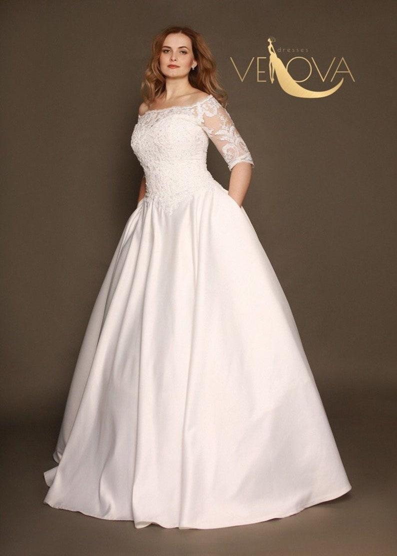 Long Sleeve Lace Wedding Dress Plus Size Wedding Dress | Etsy