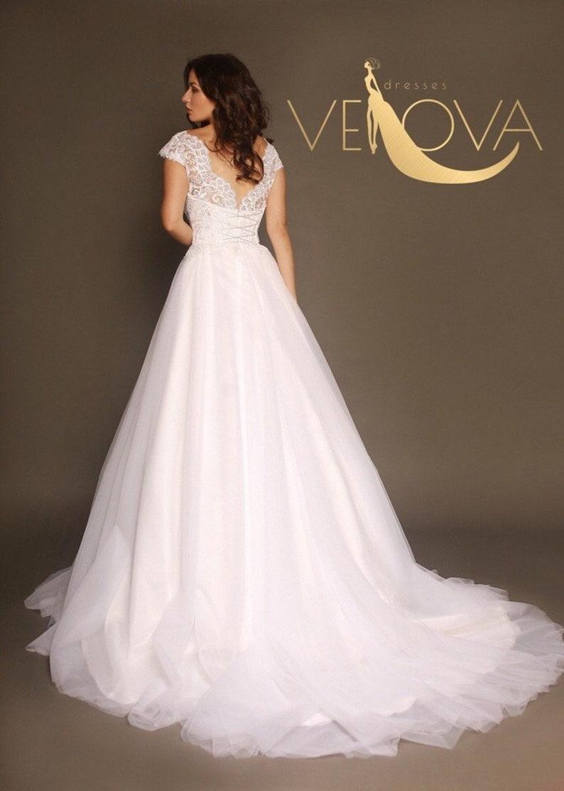Fairy Wedding Dress.Fairy Wedding Gown Beach Wedding Dress Open Back Wedding Dress Lace Wedding Dress