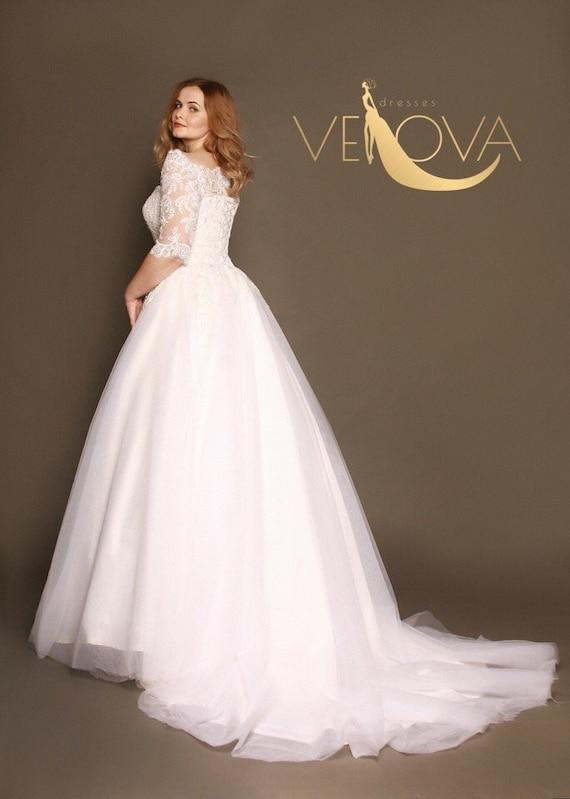 Long Sleeve Lace Wedding Dress Plus Size Wedding Dress Tulle Etsy