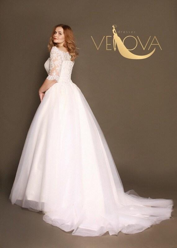 Plus Size Wedding Dress Long Sleeve Lace Wedding Dress, Tulle Wedding Dress