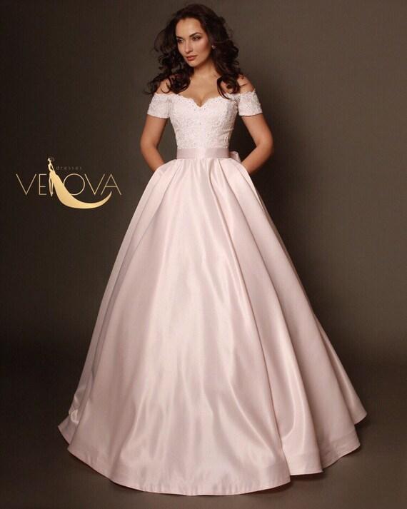 Blush Wedding Dress, Off Shoulder Lace Wedding Dress, Unique Wedding Dress,  Colored Wedding Dress, Satin Wedding Dress