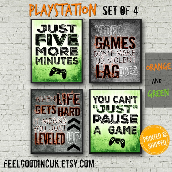 Playstation Posters Orange And Green Video Game Quotes Etsy