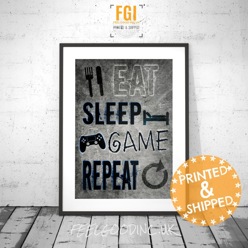 Eat Sleep Game Repeat, PLAYSTATION, video game posters, gamer gift, gaming  gift, gaming poster, Playstation poster, gift for teen, kids room