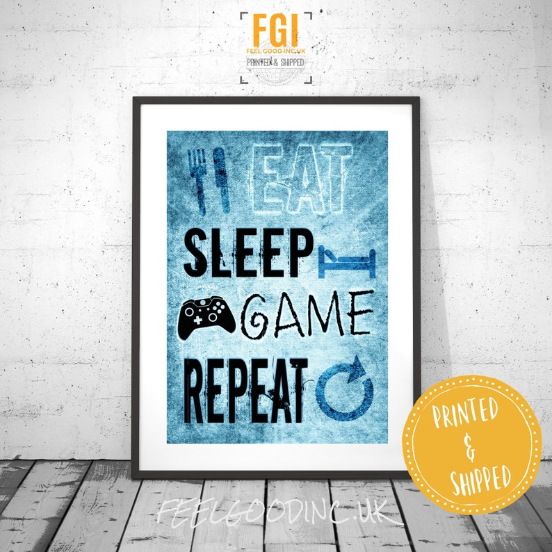 Eat Sleep Game Repeat - XBOX - video game posters - gamer gifts - gaming  gifts - gaming poster - xbox poster - gift for teen - kids room