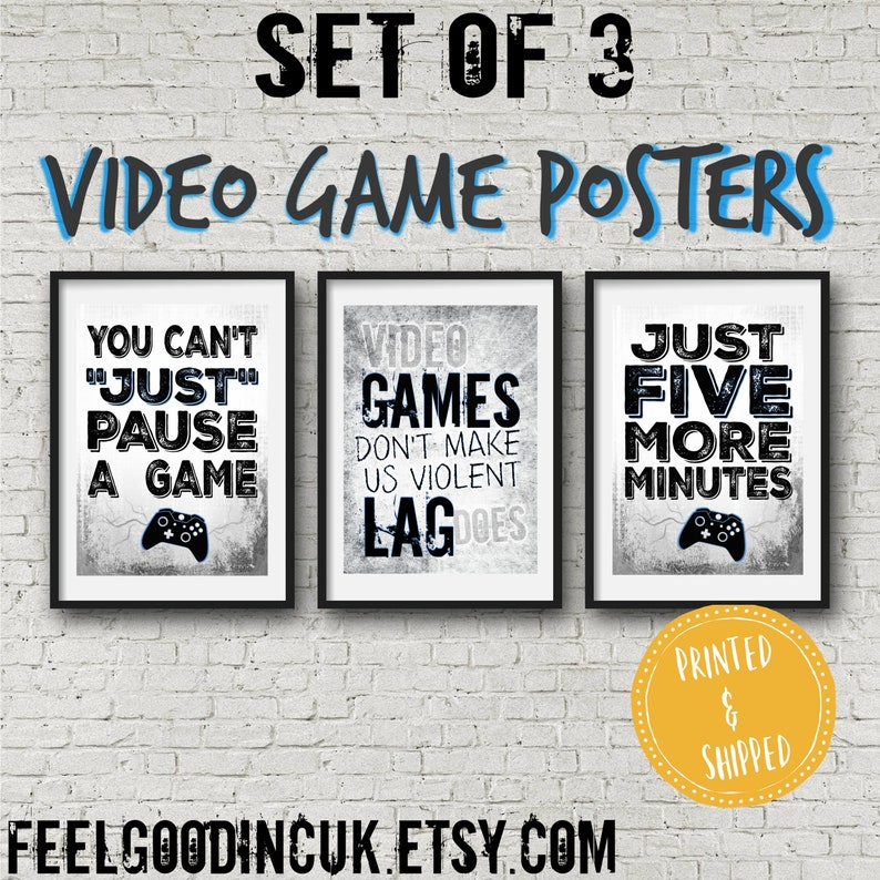 Set of 3 XBOX POSTERS, Video Game Quotes, Video Game Posters, Xbox decor,  Video Game, Wall Art, Game room, Teenage bedroom, gift for gamer