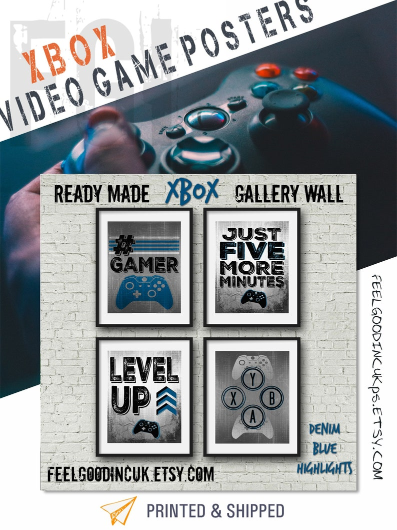 XBOX POSTERS, Denim Blue, Video Game Quotes, Video Game Posters, Xbox  Controller, Video Game Wall Art, Decor, Game room art, Teenage bedroom
