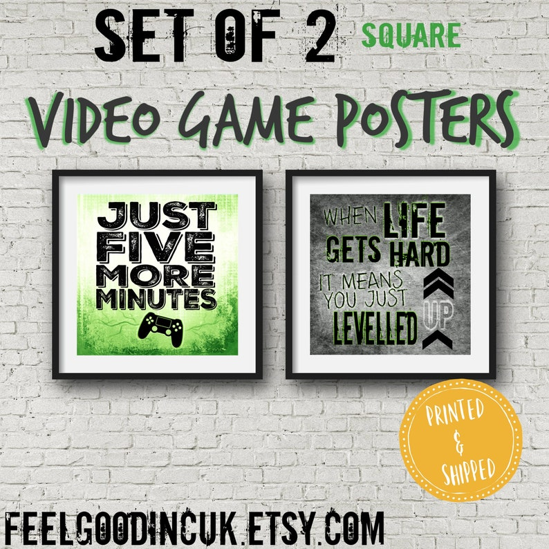 Set of 2 Square PLAYSTATION POSTERS, Video Game Quotes, Video Game Posters,  gamer wall decor, Game room, Teenage bedroom, gift for gamer