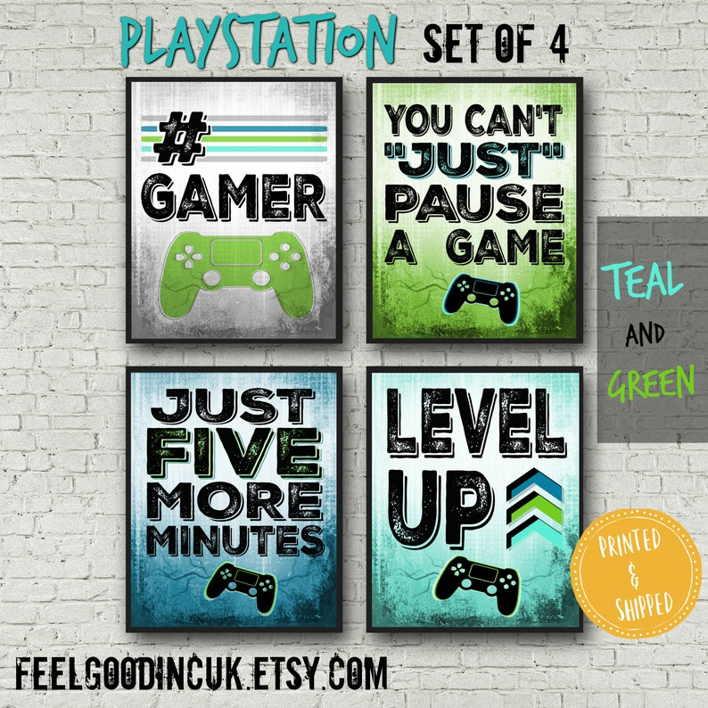 PLAYSTATION POSTERS, Green and Teal, Video Game Posters for boys bedroom,  Video Game Wall Art, Game room decor, Teenage bedroom, gamer gift