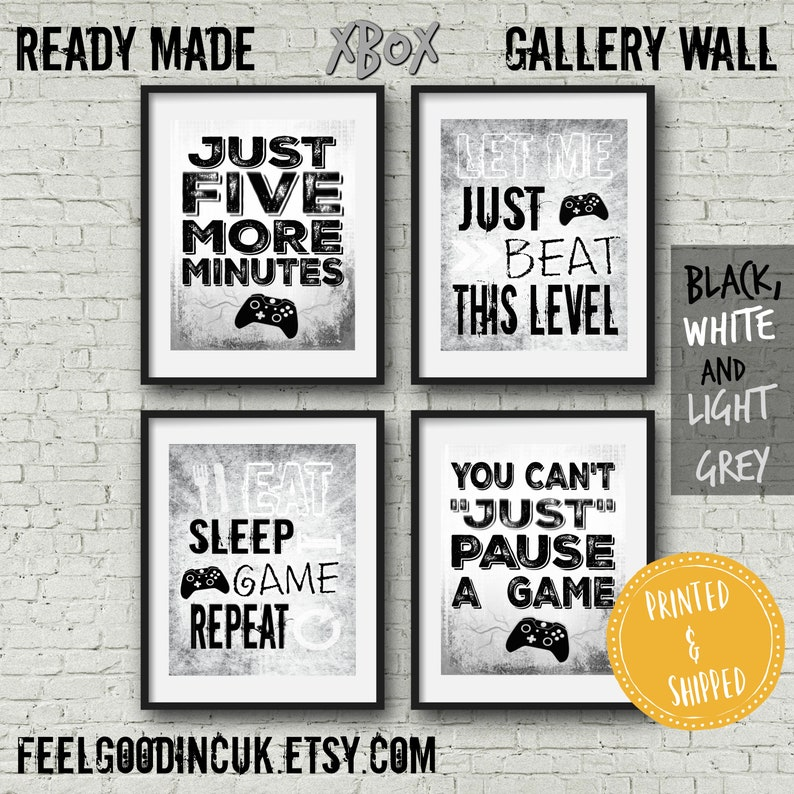 Set of GREY XBOX POSTERS, Video Game Quotes, Video Game Posters, Xbox  Controller, Video Game Wall Art, Game room decor, Teen room, dorm room