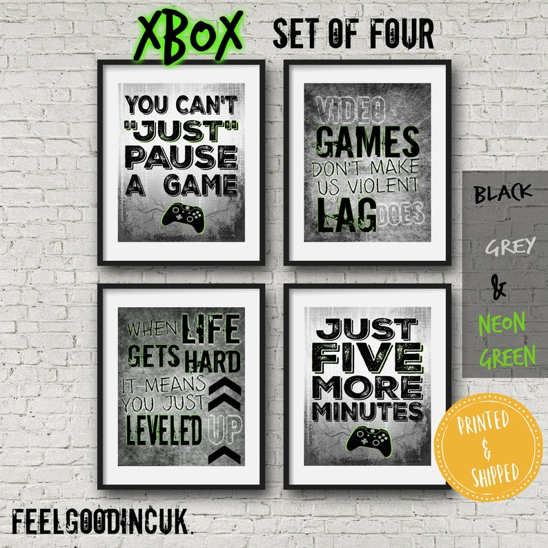 Set of XBOX POSTERS, GREEN, Video Game Quotes, Video Game Posters, Xbox  Controller, Video Game Wall Art, Decor, Game room, Teenage bedroom