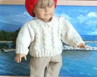 """Boy or Girl 18""""  Doll Ecru Cable Knit Pullover Sweater with Khaki Twill Tailored Pants.For Summer vacation  ,a  New England,  sailing look."""