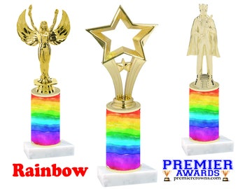 Rainbow design trophy with choice of figure.   Numerous trophy heights available.  Unique award for any event!