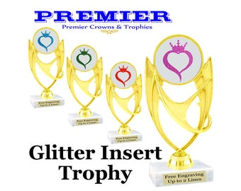 Glitter Insert trophy.  Glitter heart with crown insert.  Choice of glitter color.