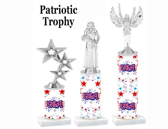 Numerous trophy heights available USA theme trophy with Silver Queen on USA design column