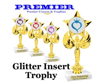 Victory with star trophy.  Glitter heart with crown insert.  Choice of glitter color.