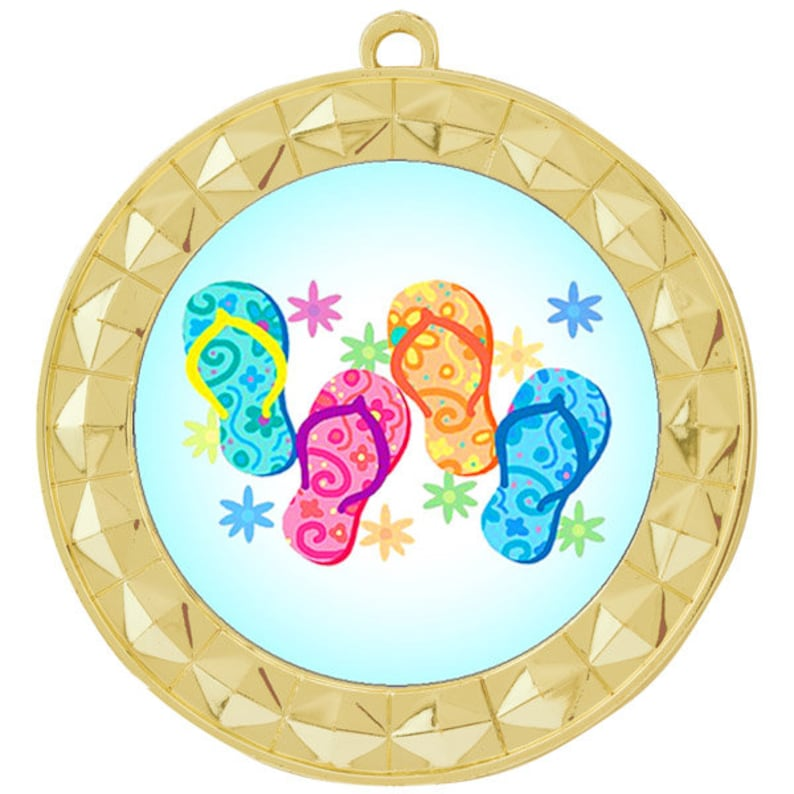 Includes free neck ribbon and engraving Gold Medal with Flip Flops Insert