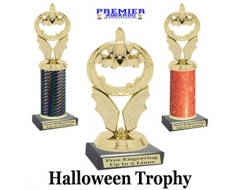 """Halloween  trophy.  Great for costume contests, pumpkin carving contests, office parties, and more.  Choice of 4.5"""" tall or 10"""" tall trophy"""